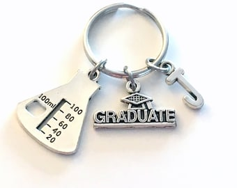 Graduation Gift for Scientist Laboratory Tech Keychain 2020 Science Chemistry Lab Beaker Key chain Keyring with Initial letter Graduate