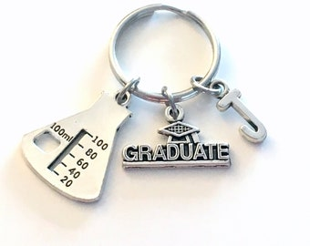 Graduation Gift for Scientist Laboratory Tech Keychain 2021 Science Chemistry Lab Beaker Key chain Keyring with Initial letter Graduate