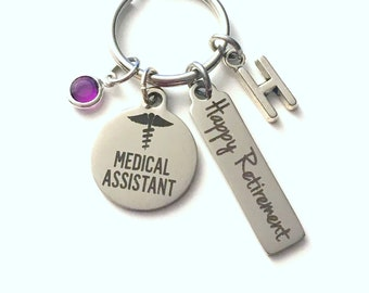 Medical Assistant Retirement Present, MA Keychain, Gift for Women or Men Retire, Key Chain Keyring him her Personalized Custom 2017