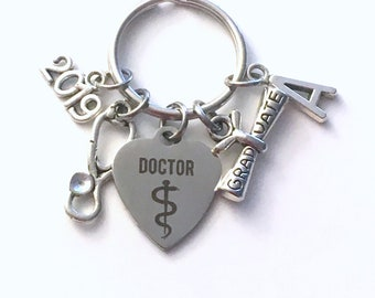 Doctor Graduation Gift, PH D Keychain 2019 PHD Dr Gift for Medical Student Grad Resident Key Chain Keyring Graduate initial letter