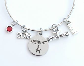 Graduation Gift for Architect, 2017 2018 Architectural Technology Charm Bracelet Grad Silver Bangle Jewelry letter birthstone women her 2019
