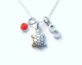 Turtle Necklace, Animal Jewelry, Tiny tortoise charm Young Girl's Present Birthday Gift for initial birthstone granddaughter silver her him