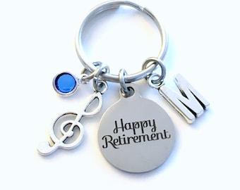 Retirement Gift for Music Teacher keychain, Band Instructor Key chain, Instrument Musical Musician keyring Initial letter men women her him