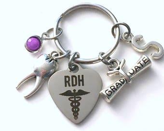 Graduation Gift for RDH Keychain, Registered Dental Hygienist Key Chain, Grad Present Assistant Keyring women Initial Birthstone her him men