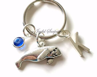 Manatee KeyChain Manatee Tale Keyring Whale Key chain Sea Animal Gift Personalized Initial Birthstone birthday present Christmas Gift Mascot