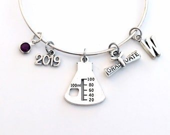 Science Graduation Gift for Scientist Charm Bracelet, Grad 2019 Chemist Student Silver Bangle initial birthstone her erlenmeyer beaker