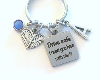 Drive safe I need you here with me Keychain, Christmas Gift for Girlfriend Key Chain, Teenage Boy Girl, women Keyring, Angel wing Teen her
