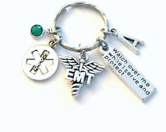 EMT Gift for Her or Him Keychain, Watch over me while I serve and protect Key Chain, Paramedic Keyring, Gift for Graduation present Grad