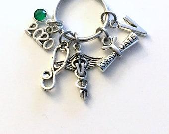 Graduation Gift for Veterinarian Keychain, 2020 Vet Key Chain Keyring for her women letter initial custom Scroll stethoscope him Student