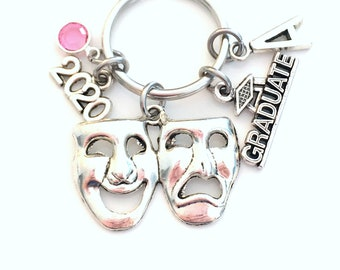 Musical Theater Keychain Graduation Gift for Drama student, 2020 Mask Key Chain Actress keyring, Actor Grad Initial Men him man her him 2021