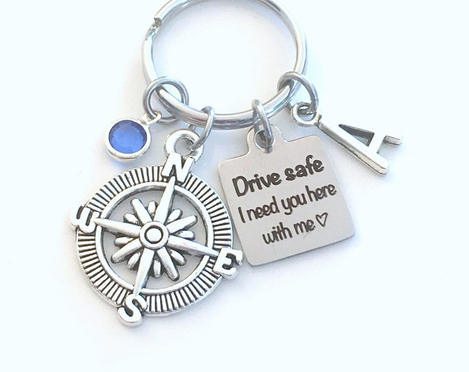 Featured listing image: Drive safe I need you here with me Keychain, Birthday Day Gift for Girlfriend Key Chain, Teenage Girl Women Wife Keyring, Compass Daughter