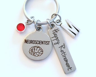 Retirement Gift for Neuroscientist KeyChain, Neurologist Key Chain, Brain Scientist Present Keyring Jewelry Initial Birthstone present women