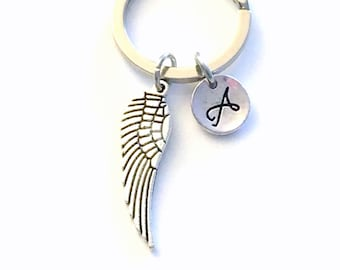 Wing Keychain, Angel Key Chain, Feather Keyring, Gift for Sympathy, Memorial present with Initial letter custom personalized men him women