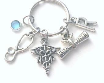 Graduation Gift for NP Keychain / Nurse practitioner Present / Nursing Key chain / NP Keyring for her him men women Scroll Stethoscope