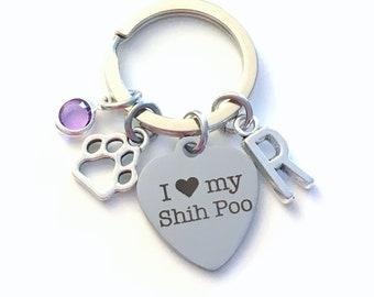 I love my Shih Poo KeyChain, Breeder Key Chain Gift for Dog Mom Keyring Doggie Puppy Shihpoo charm Silver Initial Birthstone present Women