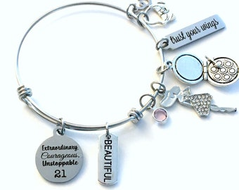 21st Birthday Gift for Girl Charm Bracelet / Turning 21 Present for Her / Silver Personalized Bangle Jewelry / Daughter Granddaughter Niece