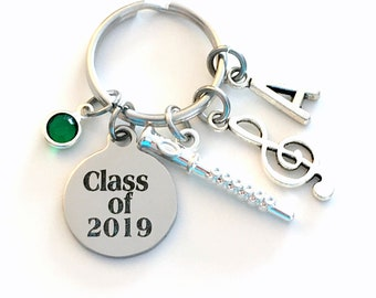Graduation Gift for Band Student Keychain, Class of 2019 Music Present, Musician Grad Flute Key Chain Graduate Keyring Initial him her teen