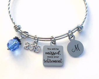 Retirement Gifts for Women, 2019 Co-worker Retirement Charm Bracelet, You will be missed, enjoy your retirement Jewelry, Stainless Steel