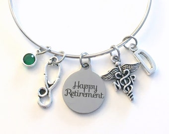 Retirement Gift for Nurse Practitioner Bracelet, NP Jewelry, Nursing Charm Bangle, Silver Medical Caduceus Stethoscope birthstone initial