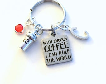 Funny Coworker Gift, With enough Coffee I can rule the World KeyChain, Boss Key chain, Personalized keyring Initial birthday present women