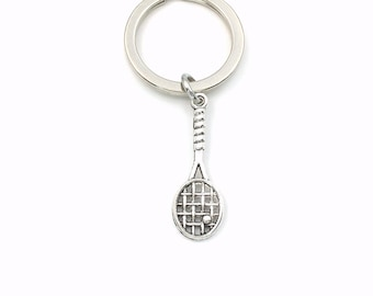 Racket Keychain, Squash Key Chain, Gifts for Racquetball Player Present, Silver Keyring, Badminton Racquet Ball Jewelry Coach Son Daughter