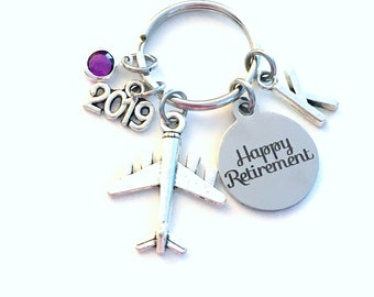 Retirement Gift for Pilot, 2019 Flight Attendant Key Chain Airplane Keyring him her men women present Retire Birthstone Man Travel Agent man