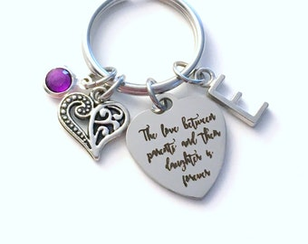 Gift for Daughter KeyChain, The love between parents and their daughter is forever Key Chain, from Keyring Initial letter wedding day Bride