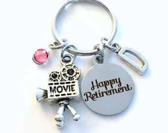 Retirement Gift for Director Keychain, Video Camera Key chain, Visual Arts Keyring Actor Initial letter men women her him videographer film