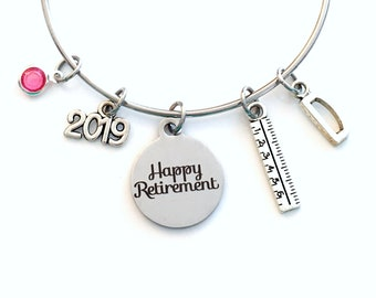Retirement Gift for Teacher Jewelry, 2019 Interior Designer Charm Bracelet Ruler Mom Women Bangle Coworker Present Silver Principal Boss HER