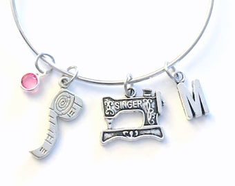Sewing Machine Bracelet, Seamstress Bangle, Gift for Seamstress, Mother's Day present, Aunt Sister Jewelry Silver Birthday Student fashion