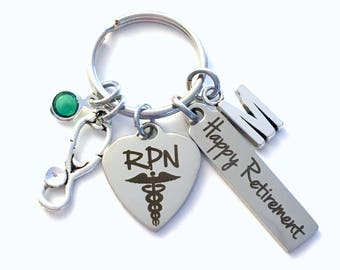 Retirement Gift for RPN Keychain, Registered Practical Nurse Key Chain, Men Women Nursing Keyring, Present him her charm RNP practitioner