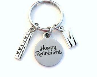 Retirement Gift for Teacher Keychain,  2021 Architecture Dad Draft Ruler Secretary Key chain Keyring Retire Coworker Initial letter Math him