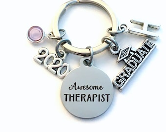 Graduation Gift for Therapist Keychain / 2021 Awesome Therapist Key chain / Counselor Keyring / Grad Present for her him / Graduate Therapy