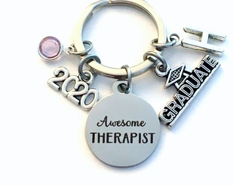 Graduation Gift for Therapist Keychain / 2020 Awesome Therapist Key chain / Counselor Keyring / Grad Present for her him / Graduate Therapy