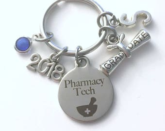 Graduation Gift for Pharmacy Tech Keychain, 2018 Scroll charm Rx Technician Key chain Keyring her women letter initial custom Man Men Him