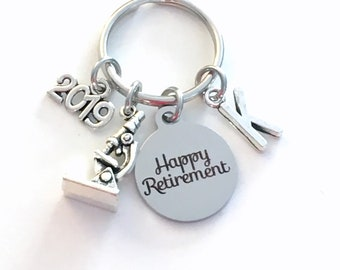 Retirement Gift for Scientist Keychain 2019 Lab Technician Science Teacher Researcher Biologist Microscope Key chain Initial present him her