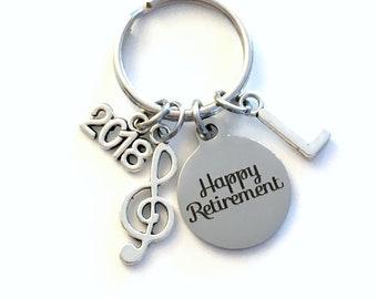 Retirement Gift for Music Teacher Keychain, 2018 Musician Key chain, Band Keyring Retire Initial letter present men women treble note him