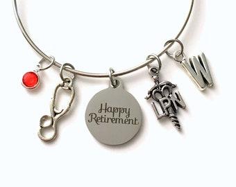 Nursing Retirement Bracelet Gift for LPN Charm Bracelet, Medical Caduceus Licensed Nurse Practitioner Jewelry Bangle initial Birthstone her