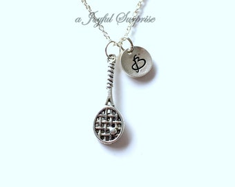 Squash Racket Necklace, Racquetball Player's Jewelry, Silver Tennis Charm, Racketball Coach Thank you Present, women girl daughter niece