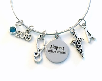 Retirement Gift for Medical Tech Charm Bracelet, Jewelry Silver Bangle Coworker letter initial birthstone Present Veterinarian, Doctor Nurse