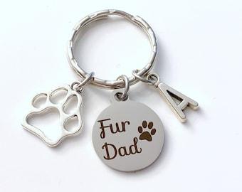 Fur Dad Keychain, Multiple letter or birthstones 2 3 4, Gift for Dog Daddy Key Chain, Fur Babies Baby, Cat Rabbit Ferret Hedgehog Chinchilla