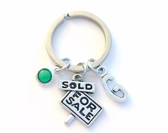 Gift for Realtor Keychain, Sold Sign Key Chain, House For Sale Keyring Real Estate Agent, New First home birthday present initial birthstone