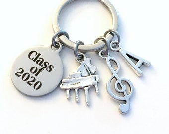 Musician Graduation Gift for Music Student Keychain, Band Geek Present Piano Graduate him her teen class of 2018 2019 2020 2021 2022 2023