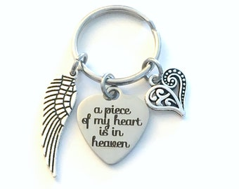 Gift for Sympathy Key Chain, Memorial Keychain, A piece of my heart is in Heaven, Loss of Son Mom Dad Brother Sister Daughter Husband wing