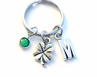 Four Leaf Clover Keychain, Good Luck Key Chain, Gift for Bingo Friend Keyring Present, men women him her, casino buddy charm
