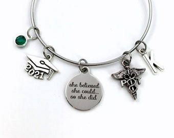 Gift for PT Graduation Present, 2021 Physical Therapist Bracelet, Therapy, She Believed She could Silver Bangle Jewelry, Charm Bangle her
