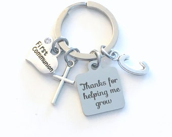 Religious Teacher Keychain, First Communion Gift for Catechism Instructor Present, Cross Key Chain Jewelry Thanks for helping me grow you
