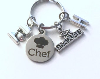 Graduation Present for Chef Keychain, 2020 Culinary Key Chain, Graduate Grad Keyring with Initial letter, Cooking Pastry men Women man 2021