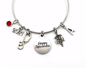 Retirement Gift for RN Nurse / 2021 Women Charm Bracelet Jewelry / Silver Nursing Bangle for Coworker / Registered Nurse Retiree Present