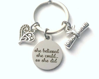Graduation Gifts for her Keychain, She believed she could so she did Key chain, Heart scroll keyring Initial women birthstone graduate grad